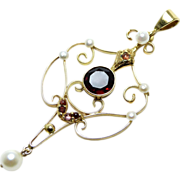 SALE Lavalier Pendant with Garnets and Cultured Pearls