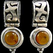 SALE Amber and Sterling Door Knocker Style Earrings Signed Lori Bonn
