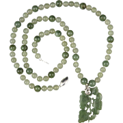 "Translucent Carved Jade Pendant Necklace 24"""