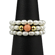 SOLD Fresh Water Cultured Pearl and Salmon Coral Ring