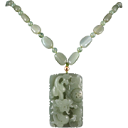 Masterpiece Carved Hetian Nephrite Jade Dragon Necklace 32""