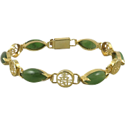 Translucent Green Nephrite Jade Chinese Character Bracelet