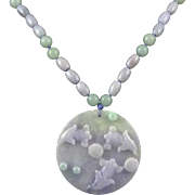 """14K Lavender and Green Jade Koi Fish Pond Necklace 30"""""""