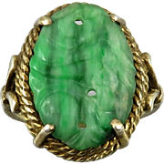 Art Deco Carved Green Jade and Gilded Silver Ring