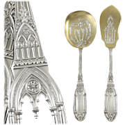 SOLD SOUFFLOT : Rare Antique French 'Gothic' Sterling Silver Vermeil 2pc Dessert / Ice Cream S