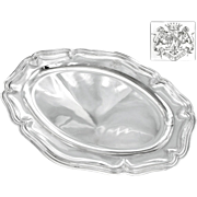 "VILLAIN : Antique French Sterling Silver 16.6"" Oval Serving Tray  / Platter with Royal Ar"