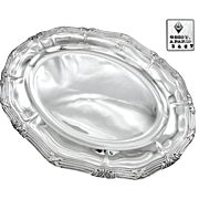 """ODIOT : Massive Antique French Sterling Silver Louis XVI Oval 19.5"""" Serving Tray / Platte"""