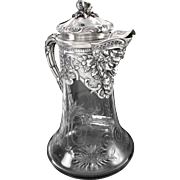 Boin-Taburet :  Antique French Sterling Silver Etched Crystal BACCHUS Claret Jug