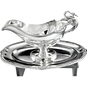 Antique French Sterling Silver EMPIRE style Figural SWAN Sauce Boat with Tray