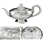 ODIOT : Large Antique French Napoleon III Guilloche Sterling Silver Teapot, Royal Armorial / .