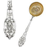 PUIFORCAT : Antique French Sterling Silver & Vermeil RENAISSANCE Mascaron Sugar Sifter Spoon