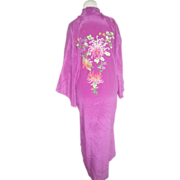 Long silk embroidered vintage kimono  robe with floral spider mum  bright colors