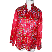 Stunning elaborate vintage red and multi color bird floral fine Silk Chinese Jacket robe Hand