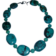 Turquoise carved Large  nugget necklace
