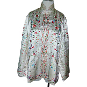 Beautiful elaborate vintage white ivory and multi color bird floral fine Silk Chinese Jacket .
