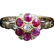 Victorian Ruby & Diamond Chester Hallmarked 18CT Gold Cluster Ring