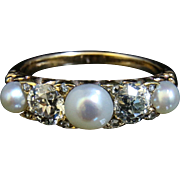 Antique Victorian Diamond & Pearl 18CT Gold Ring – Set With 1.20CT Of Diamonds & Pearls ...