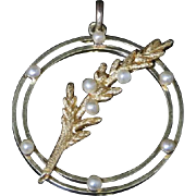Victorian Gold Pearl Pendant - 18ct Gold - Pearl Fern