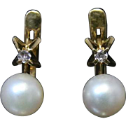 Victorian French Gold Pearl & Diamond Earrings - Circa 1880