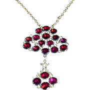 Antique Georgian Flat Top Garnet Dropper Pendant & Chain