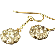 Georgian 19th Century Long Paste Cluster Earrings