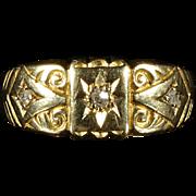 Antique Edwardian Diamond Ring - Chester 1907 Lovely Engraving