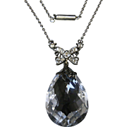 Victorian Rock Crystal Pendant - Sterling Silver - Necklace - Circa 1900