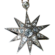 Antique Georgian Paste Star Pendant & Chain
