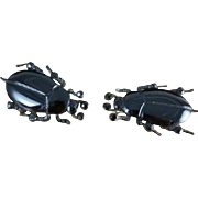 Victorian French Jet Beetle Earrings - Circa 1860