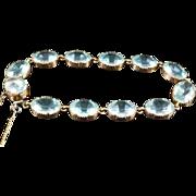 Victorian Blue Paste Aquamarine Gold Bracelet