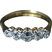 Edwardian Diamond Ring - Five Stone Diamond Ring Circa 1915