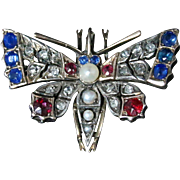 Antique Victorian Diamond ButterflyPendant - Sapphires and Rubies Circa 1900