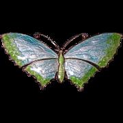 Antique Victorian Silver Enamel Butterfly Brooch - Circa 1900