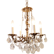 Mid-Century Bronze Chandelier Swedish Cut Crystal