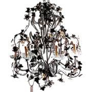 Mid-Century Iron and Crystal Chandelier