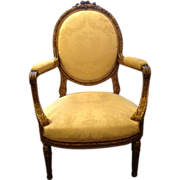Antique Louis XVI Chair - Damask and Lacquered Wood