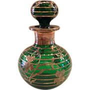 Silver Overlay Green Glass Perfume Bottle 1918