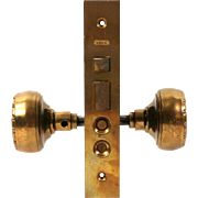 1890s Functional Brass Yale & Towne Push Button Entry Mortise Lock and Doorknob