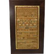 1740s Fine Antique Sampler, Boston School, Geometric Forest with Birds, Alphabets, Historic ..