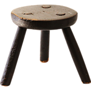 Antique Doll Child Milking Windsor Stool
