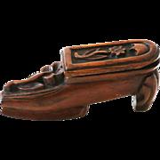 Antique Treen Shoe Master Snuff Box
