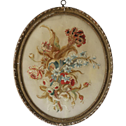 Antique Georgian Floral Silk Needlework Crewelwork Picture