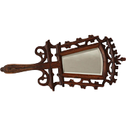 Antique Black Forest Carved Hand Mirror