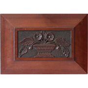 Antique Carved Architectural Panel of Naive or Folk Urn of Flowers