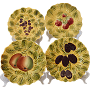 Set of 4 French Majolica Sarreguemines Fruit Dessert Plates