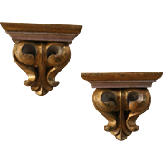 Antique Pair of Gilded Carved French Wall Shelves