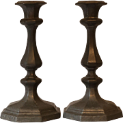 Antique Pewter Hexagonal Candlesticks