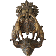 Antique Brass Door Knocker with Angels Cherubs