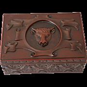 Carved 'Bull' Desk Trinket Box