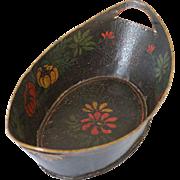 Antique Decorated Tole Toleware Basket